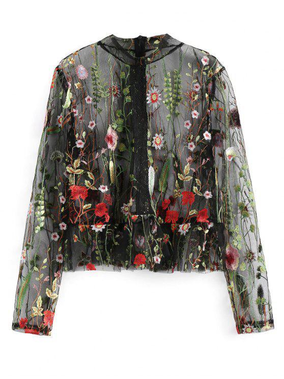 trendy High Neck Floral Sheer Mesh Blouse - BLACK L