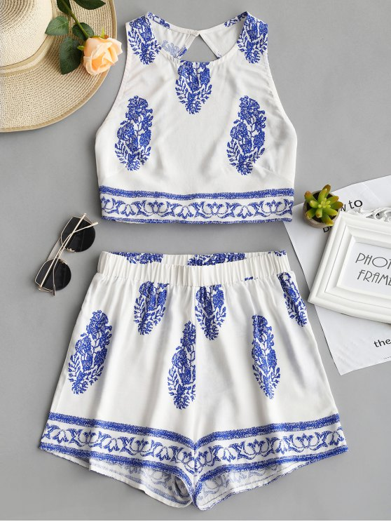 affordable Bow Tied Printed Open Back Top and Shorts Set - BLUE L