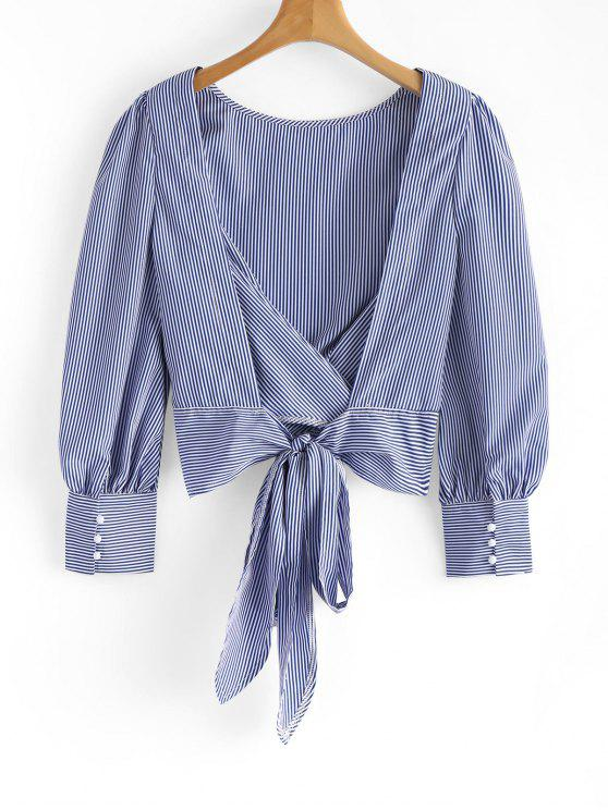 latest Tied Bowknot Backless Striped Blouse - BLUE S