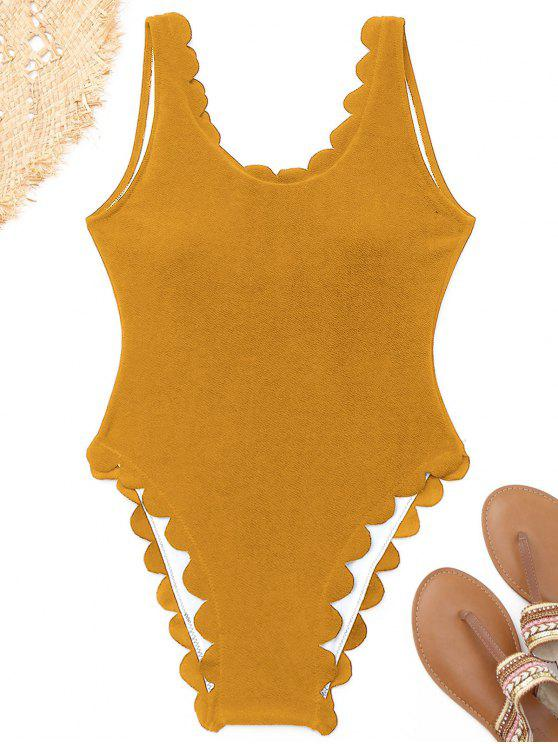 trendy High Cut Scalloped One Piece Swimwear - GINGER S