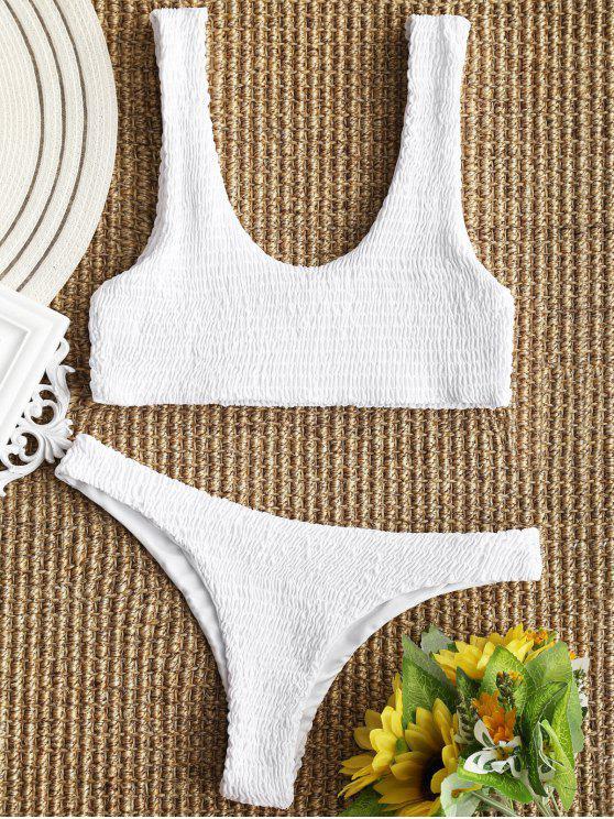 Bikini y top con tanga a cuadros desgastados - Blanco M