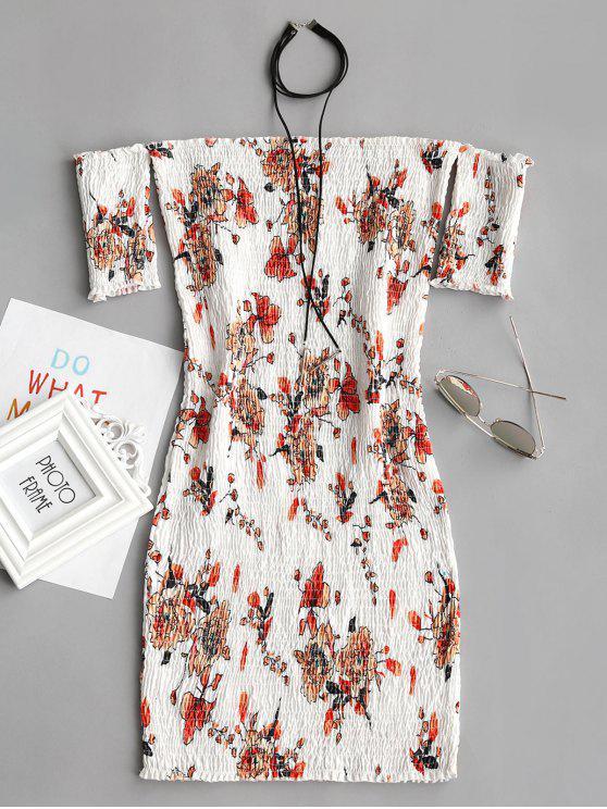 Smoked Blumen Schulterfrei Bodycon Kleid - Weiß L