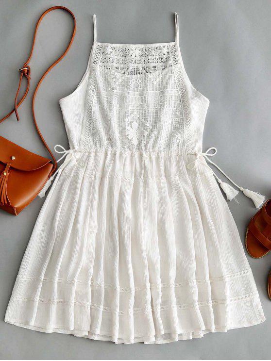 ladies Sleeveless Crochet Tassels Mini Dress - WHITE M