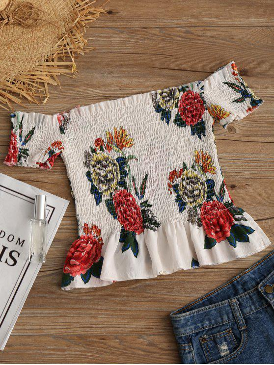 latest Off Shoulder Ruffles Floral Smocked Blouse - FLORAL M