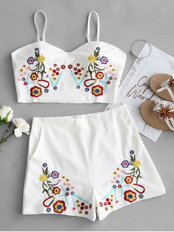 affordable Bralette Floral Embroidered Top and Shorts Set - WHITE L