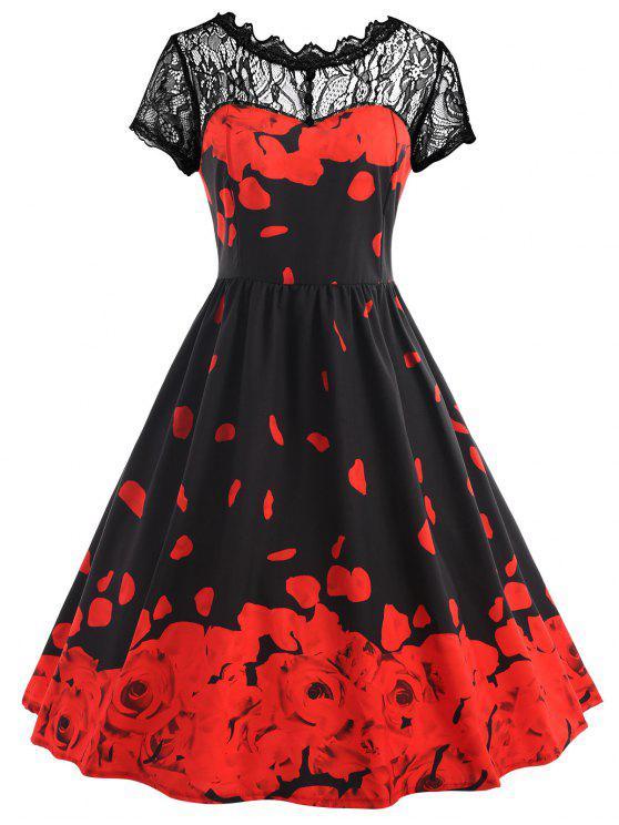 فستان بطبعة ورود ذو مقاس كبير مزين بالدانتيل - أسود أحمر 2XL