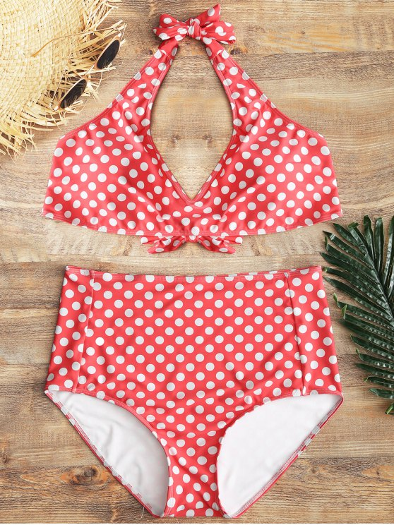 affordable Plus Size Polka Dot High Waisted Bikini - RED 2XL