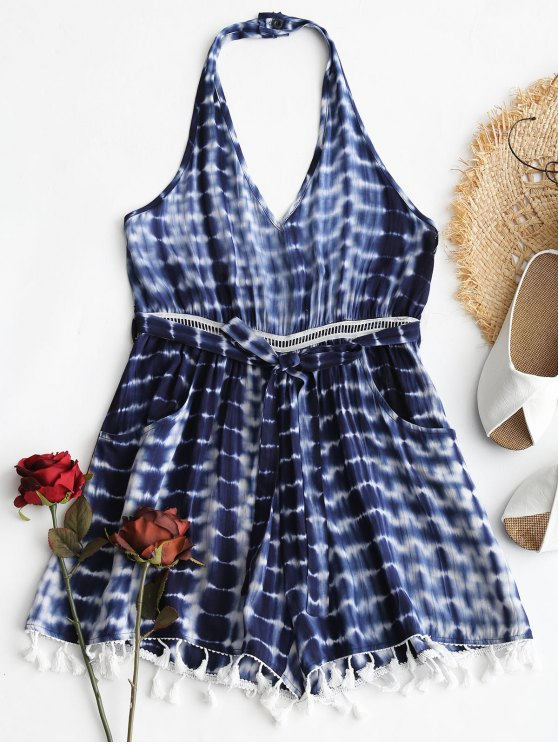 affordable Tassel Halter Tie Dye Romper - BLUE L