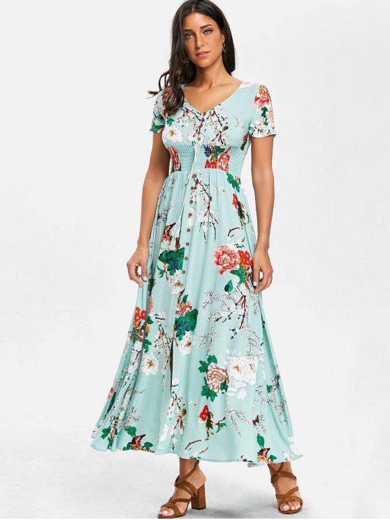 Robe Florale Longue à Col en V en Mousseline - Turquoise L