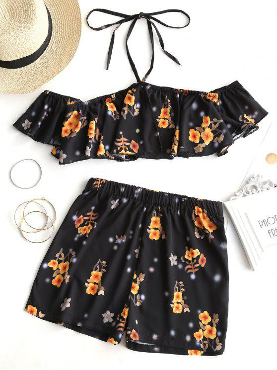 outfits Floral Cropped Off Shoulder Top and Shorts Set - BLACK L