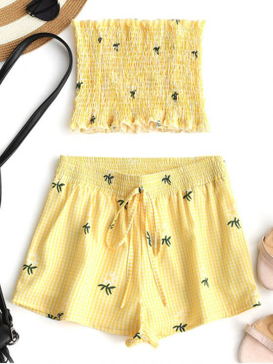 trendy Smocked Palm Tree Tube Top and Gingham Shorts Set - YELLOW S