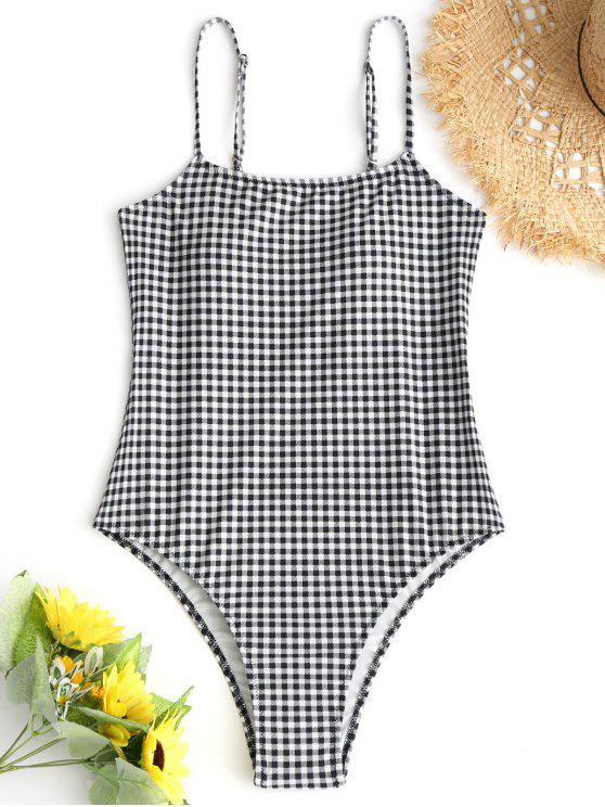 ladies Plaid High Cut One-piece Swimsuit - WHITE AND BLACK M