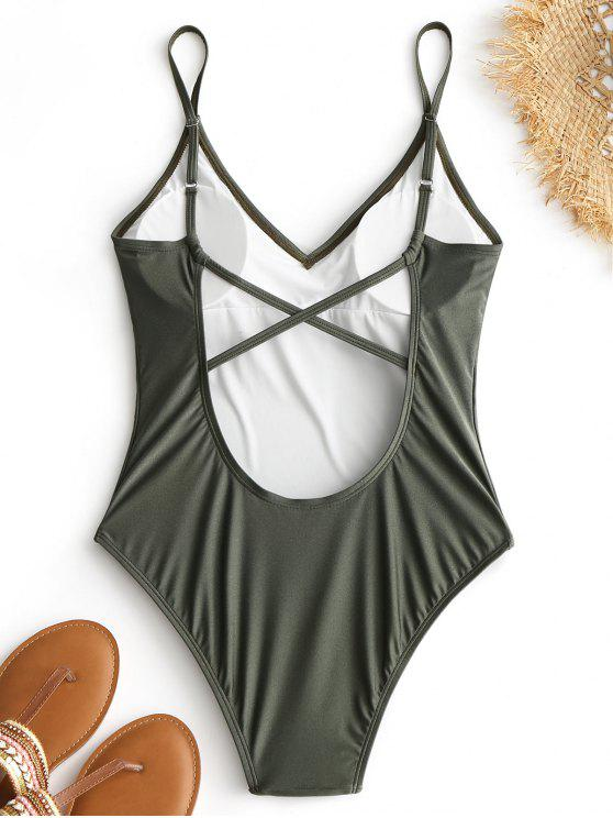 fancy Criss-cross High Cut Swimsuit - ARMY GREEN M