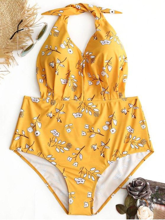 ملابس السباحة الحجم الكبير طباعة الأزهار رسن - الأصفر 2XL