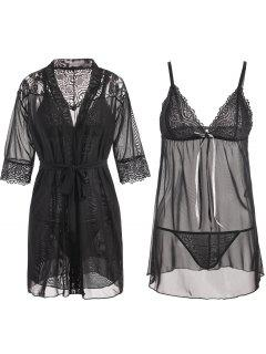 Sheer Lace Insert Mesh Babydoll Set - Black