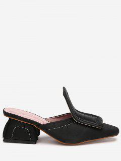 Mid Heel Stitching Loafers - Black 36