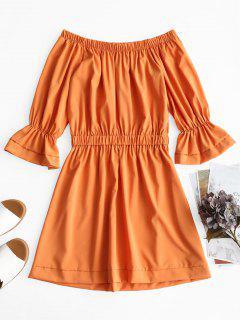 Vestido Con Manga Mini Flare De Hombro - Naranja L