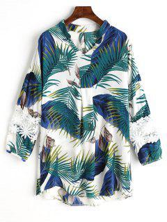 Palm Leaf Print Spitzenbluse - Weiß Xl