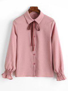 Cuff Sleeve Vertical Striped Shirt With Bowknot - Red Stripes L