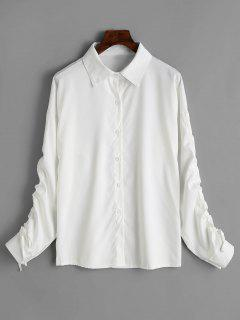 Lace Up Ruched Sleeve Drop Shoulder Shirt - White M