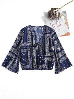 Plunging Neck Tribal Print Tassels Blouse - Deep Blue