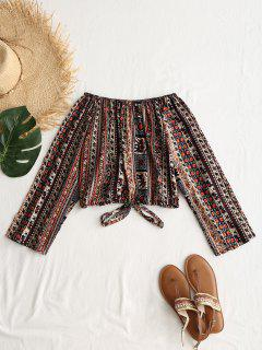 Off Shoulder Tribal Print Crop Blouse - Multi S