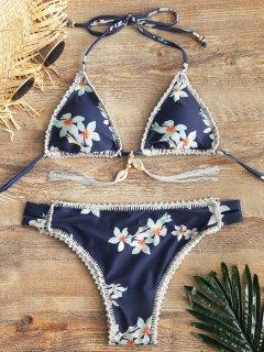 Floral Halter Bikini Bra With Ladder Cut Bottoms - Purplish Blue L