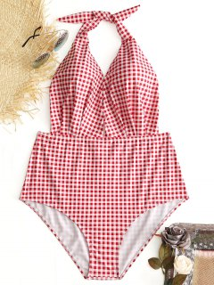 Halter Plaid Plus Size Swimwear - Checked 3xl