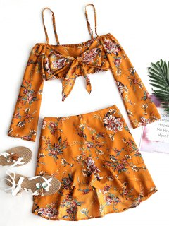 Floral Cold Shoulder Top And Ruffle Skirt Set - Light Brown M