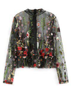 Blusa De Malla Escarpada Floral De Cuello Alto - Negro L