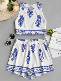 Bow Tied Printed Open Back Top And Shorts Set - Blue S