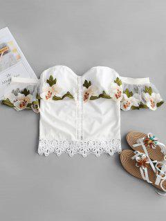 Blouse En Crochet Brodée à L'épaule - Blanc S