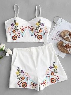 Bralette Floral Top Y Shorts Bordados Set - Blanco M