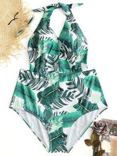 Maillot De Bain Grande Taille Tropical Leaf - Blanc Et Vert 3xl
