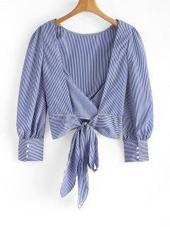 Tied Bowknot Backless Striped Blouse - Blue L