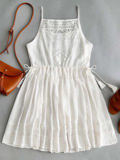 Sleeveless Crochet Tassels Mini Dress - White S