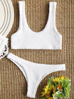 Smocked Bikini Top And Thong Bottoms - White M