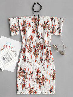 Vestido Ajustado Con Hombros Descubiertos Y Hombros Descubiertos - Blanco L