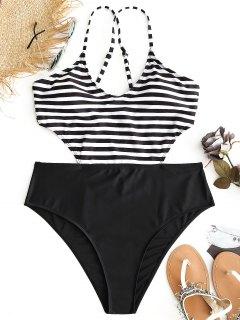 Plus Size Striped Monokini - White And Black 2xl