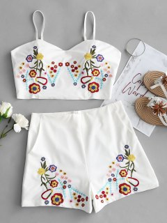 Bralette Floral Embroidered Top And Shorts Set - White L