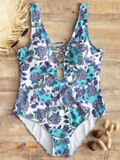 Floral Low Back Plus Size Lattice Front Swimwear - Floral 2xl