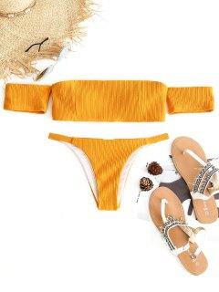Gerippt Aus Dem Schulter Bikini Set - Gelb S