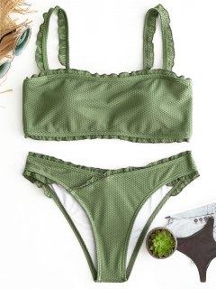 Rüschen Gepolstertes Bikini-Set - Grün S