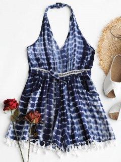 Tassel Halter Tie Dye Romper - Blue M