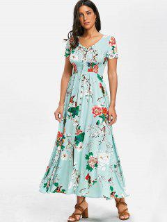 V-neck Chiffon Maxi Floral Dress - Turquoise M