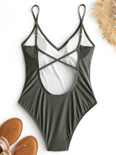Criss-cross High Cut Swimsuit - Army Green M