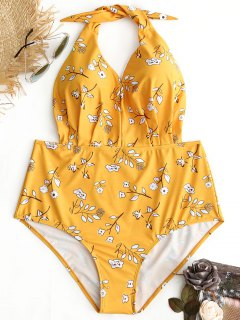 Halter Floral Plus Size Swimwear - Yellow 3xl