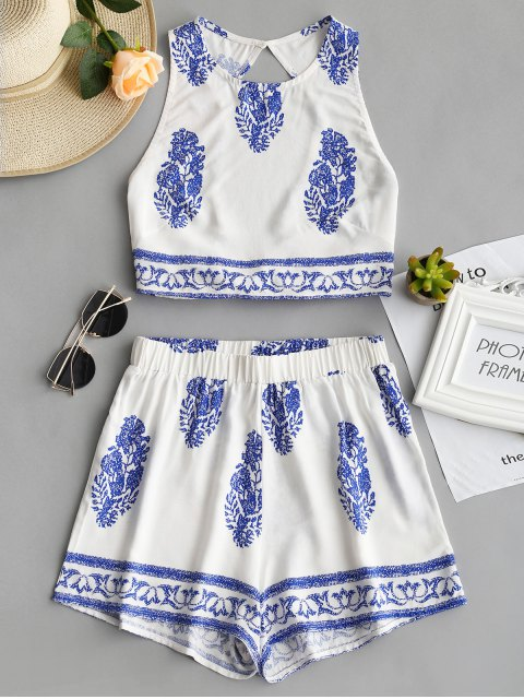 unique Bow Tied Printed Open Back Top and Shorts Set - BLUE S Mobile