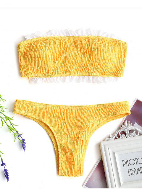 best Smocked Ruffles Bandeau Bikini Top And Bottoms - YELLOW L Mobile