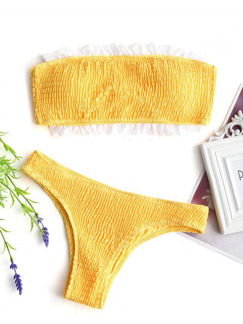 Bikini y top con adornos bandeau con volantes deshilachados - Amarillo S Mobile